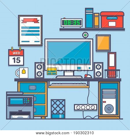 Office interior.Office desk and accessory.Vector illustrations for web banners and promotional materials.