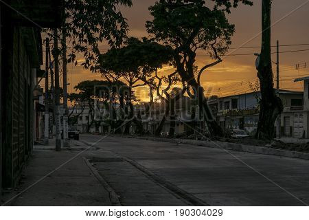 Sunset Urban Scene Middle Class District, Guayaquil, Ecuador