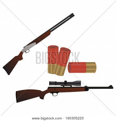 Flat set of weapons guns and rifles with cartridges isolated on white background vector illustration