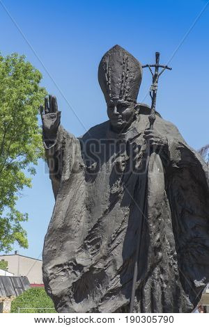 Piekary Sl Poland May 28 2017: Monument of St. John Paul II in Piekary Slaskie in Poland at Calvary in the Shrine of Our Lady