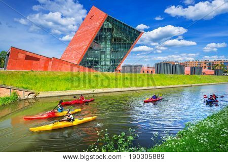 GDANSK, POLAND - JUNE 5, 2017: Kayaks at the Museum of the Second World War in Gdansk, Poland. The Museum main exhibition covering an area of about 5,000 square metres.