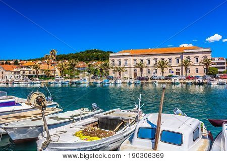 Summertime in Croatia, mediterranean scenery in Island Hvar, croatian travel places.