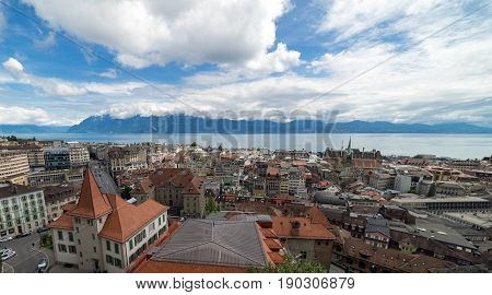 The City of Lausanne in Switzerland, looking towards Lake Leman (Lake Geneva) on a sunny day