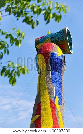 BARCELONA, SPAIN - MAY 31, 2017: A view of the sculpture Dona i Ocell, designed by famous Joan Miro, that presides over the park that bears the name of the Catalan artist