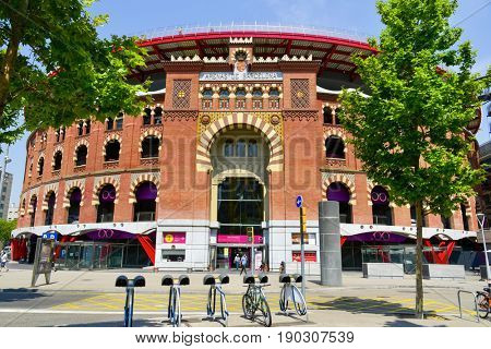 BARCELONA, SPAIN - MAY 31, 2017: The facade of Arenas de Barcelona, an old bullring, built in 1900, that since 2011, after an intense remodeling, is a shopping mall and leisure center
