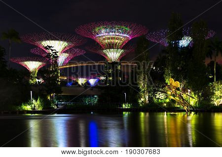 Landscape Of The Singapore The Supertree At Gardens By The Bay In Marina Bay In Evening Lights