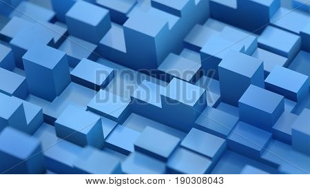 Abstract background of defocused cubes and parallelepipeds in blue colors with shadows
