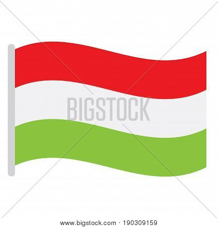 Isolated Hungarian flag on a white background, Vector illustration