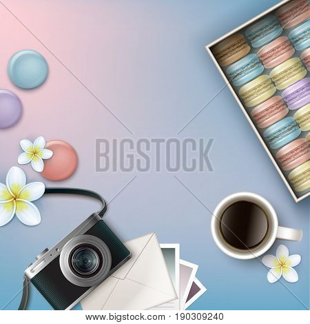 Vector box of colorful french macarons with coffee, plumeria flowers, photo camera, envelope and cards on pink blue background top view