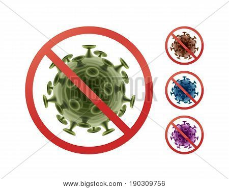 Set of stop prohibit signs on bacteria close up front view isolated on white background