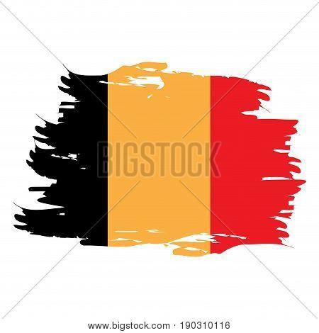 Isolated grunge textured Belgian flag, Vector illustration