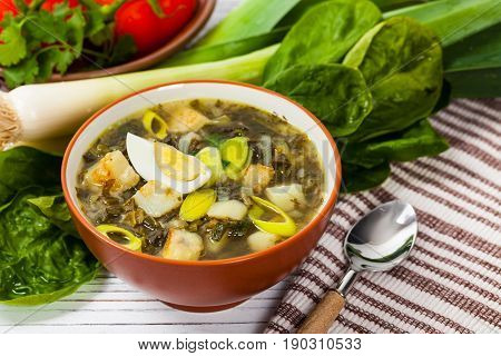 Russian Potato, Spinach, and Sorrel Soup. Selective focus.