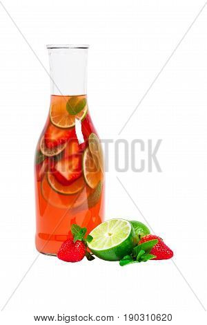 Strawberry Lemonade Drink Isolated on White background. Selective focus.