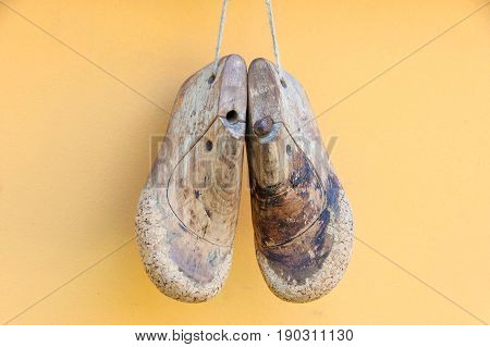Old wooden shoe form for children's shoes.