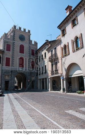 27 may 2017-vittorio veneto-italy-Ancient palaces in the city of Vittori Veneto