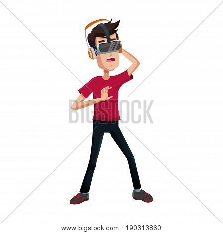 young man using a vr headset and experiencing virtual reality vector illustration