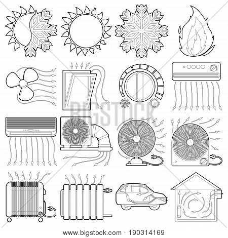 Heat cool air flow tools icons set. Outline illustration of 16 heat cool air flow tools vector icons for web