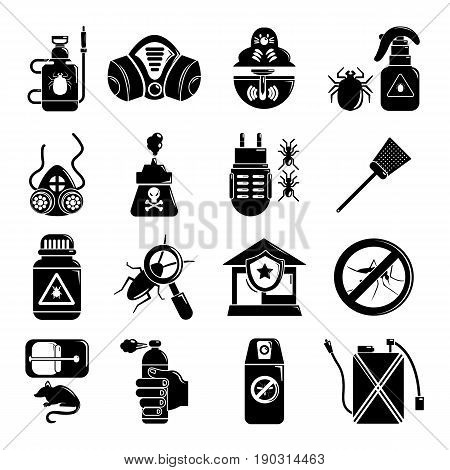 Pest control tools icons set. Simple illustration of 16 pest control tools, vector icons for web