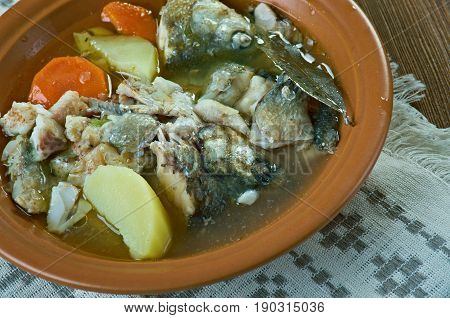 Siberian Fish soup with whitefish. close up