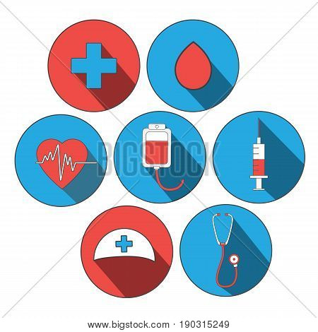 medicine icon flat set. World blood donor day, Doctor day. Stickers for site design. Medical concept