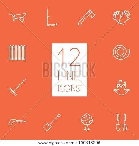 Set Of 12 Horticulture Outline Icons Set.Collection Of Palisade, Instruments, Arm-Cutter And Other Elements.