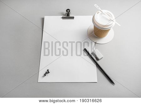 Blank stationery on paper background. Letterhead pencil eraser and coffee cup. Responsive design template.