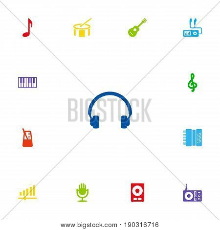 Set Of 13 Music Icons Set.Collection Of Tone Symbol, Acoustic, Octave Keyboard And Other Elements.