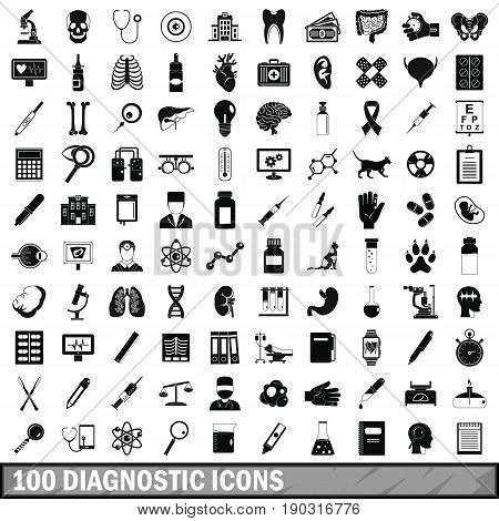 100 diagnostic icons set in simple style for any design vector illustration