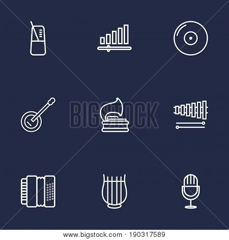 Set Of 9 Music Outline Icons Set.Collection Of Harmonica, Vinyl, Wooden Block And Other Elements.