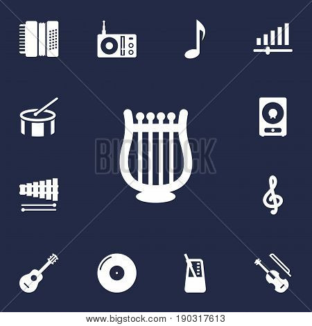 Set Of 13 Song Icons Set.Collection Of Tone Symbol, Fiddle, Retro Disc And Other Elements.