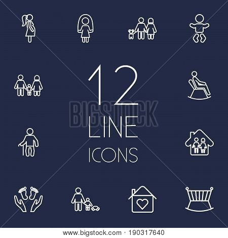 Set Of 12 Family Outline Icons Set.Collection Of Playing, Baby, Crib And Other Elements.