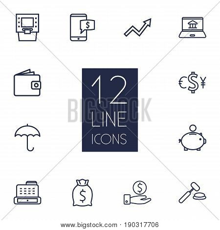 Set Of 12 Budget Outline Icons Set.Collection Of Moneybag, Grow Up, Internet Banking And Other Elements.