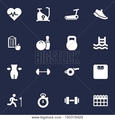 Set Of 16 Training Icons Set.Collection Of Body Balance, Running, Blower And Other Elements.
