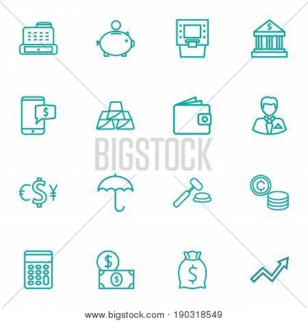 Set Of 16 Budget Outline Icons Set.Collection Of Businessman, Calculator, Money Box And Other Elements.