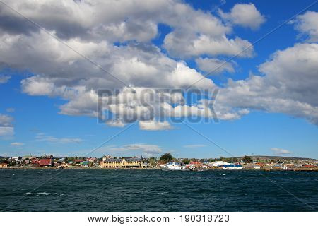 Waterfront view of Puerto Natales, Patagonia, Chile