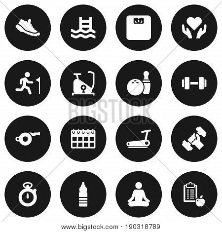 Set Of 16 Training Icons Set.Collection Of Bodybuilding, Date, Training Bicycle And Other Elements.
