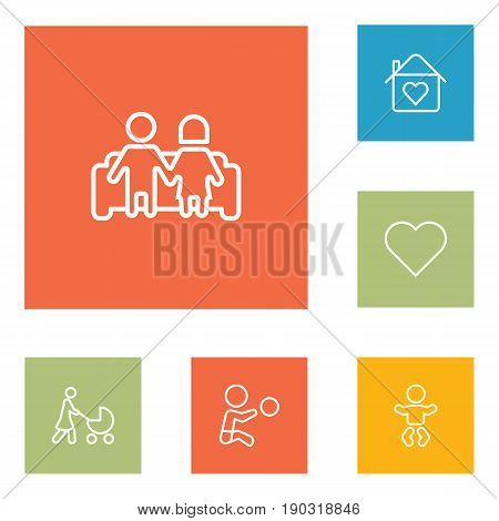 Set Of 6 People Outline Icons Set.Collection Of Couple, Home, Stroller And Other Elements.