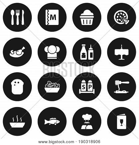 Set Of 16 Restaurant Icons Set.Collection Of Alcohol, Broth, Catsup And Other Elements.