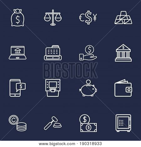 Set Of 16 Budget Outline Icons Set.Collection Of Electron Payment, Internet Banking, Atm And Other Elements.