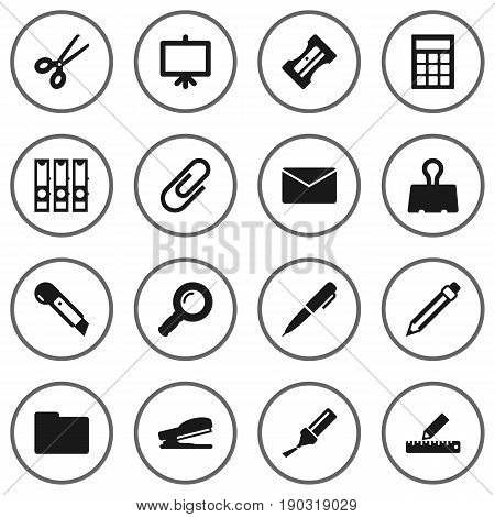 Set Of 16 Stationery Icons Set.Collection Of Binder, Folder, Ink And Other Elements.