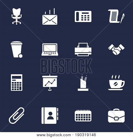 Set Of 16 Bureau Icons Set.Collection Of Address Book, Laptop, Printer And Other Elements.