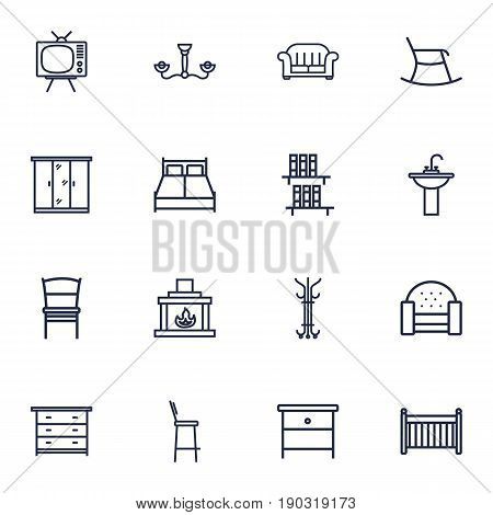 Set Of 16 Situation Outline Icons Set.Collection Of Bar Stool, Washbasin, Chair And Other Elements.