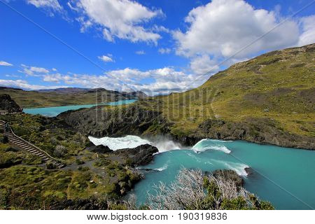 Salto Grande waterfall, Torres Del Paine National Park, Patagonia, Chile Southamerica