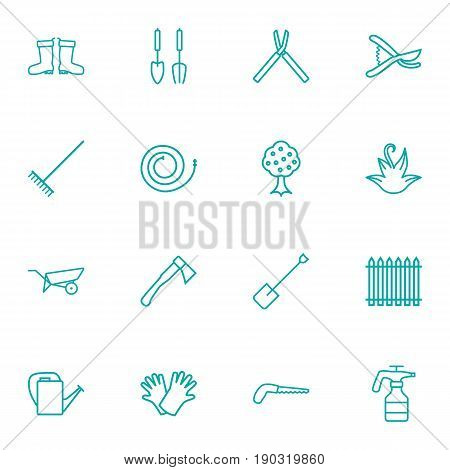 Set Of 16 Farm Outline Icons Set.Collection Of Arm-Cutter, Safer Of Hand , Secateurs Elements.