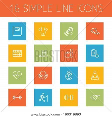 Set Of 16 Bodybuilding Outline Icons Set.Collection Of Dumbbell, Stopwatch, Whistle And Other Elements.