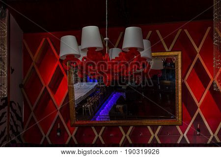 decoration with nirror in interior a night club