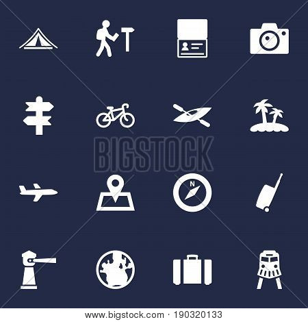 Set Of 16 Travel Icons Set.Collection Of Aircraft, Citizenship, Traveler And Other Elements.