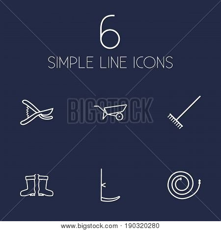 Set Of 6 Horticulture Outline Icons Set.Collection Of Firehose, Scythe, Barrow And Other Elements.