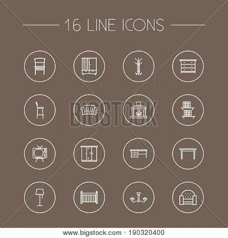 Set Of 16 Set Outline Icons Set.Collection Of Crib, Closet, Sofa And Other Elements.