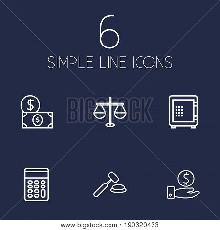 Set Of 6 Budget Outline Icons Set.Collection Of Dollar, Calculator, Auction And Other Elements.